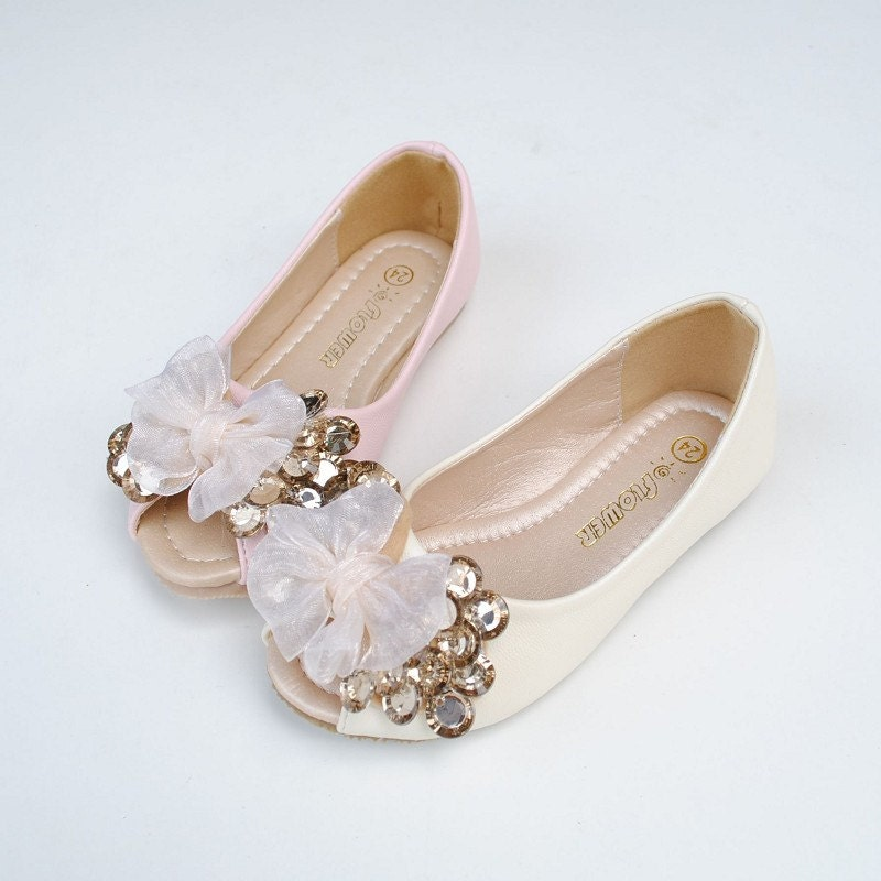 Peep Toe Flower Girl Shoes-ivory Lace Bow Champage Gems Blingy