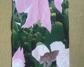 Linen tea towel - Jungle catcus