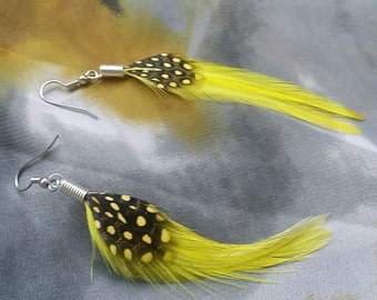 Yellow Feather Earrings with Black & Yellow Polka Dot Feather Earrings - Feather Earrings - Black Feather Earrings