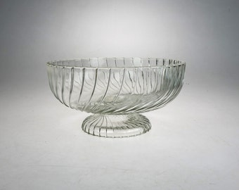 Vintage Clear Glass Bowl - Pedestal Bowl -  Bowl with Foot