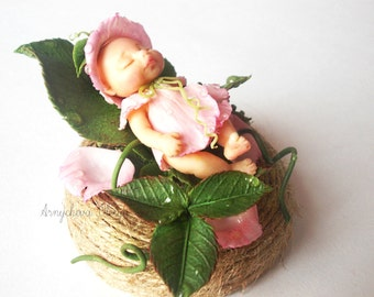 baby doll from polymer clay.handmade.Fairy forest,miniature.