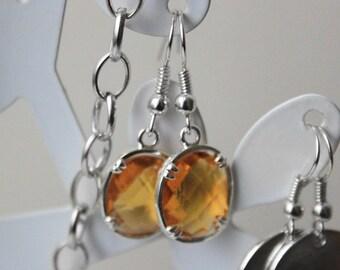 Faux Amber Yellow Silver Earring