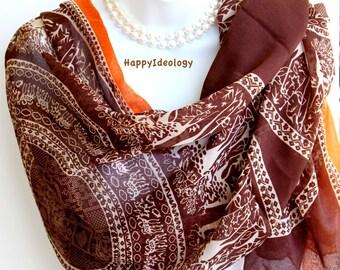Coffee Brown Deer Print Long Scarf. Autumn Scarves.Wrap/Shawl. Soft Scarf.Summer Scarves.Fall / Winter Scarf.Oversized Scarf/Shawl.