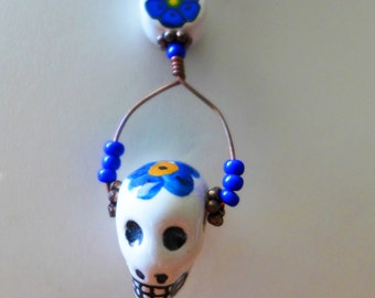 Day of the Dead (Dia de los Muertos) Peruvian Ceramic Skull Necklace with Cobalt blue Czech glass beads and Copper and Brass closures
