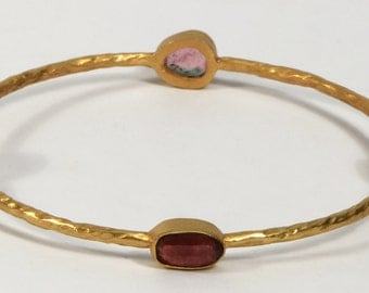 Hammered Round Simple 2.5inch Bangle .925SterlingSilver with 18kt Gold Micron Plating with Multi Tourmaline Gemstones
