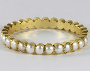 Antique style Organic Round Natural Matte Women 2.5 inch Bangle .925 Sterling Silver with Gold Vermeil with Pearl Gemstones