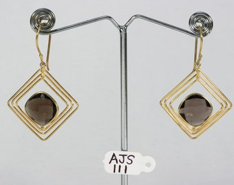 Antique style Women Organic Dangle Earrings .925Sterling Silver with 18kt GoldMicron Plating with Smokey Quartz Gemstone