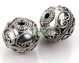 HIZE BB095 925 Bali Sterling Silver Fine Ornate Round Ball Focal Beads 16mm (2)