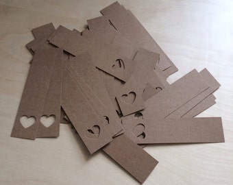 Heart wedding favour tags made from brown kraft card