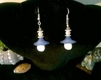 Pearl~shell~crystal~flower~silver drop earrings