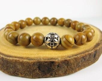 Jasper Bamboo Bracelet, Beaded Bracelet, Gemstone Bracelet