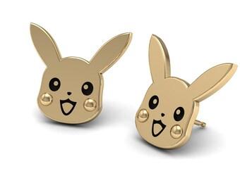 Pika Stud Earrings in 14k Gold