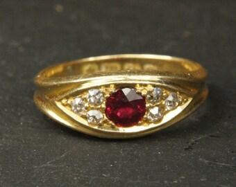 Antique Edwardian 18 Carat Gold Ruby & Diamond Ring