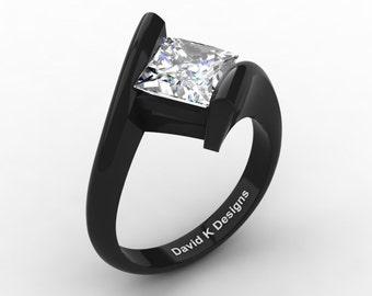 Exclusive Modern 14K Black Gold 2.0 Ct Princess Square White Sapphire Kite Setting Engagement Ring R1031-14KBGWS