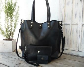 Leather bag, large leather bag, black leather bag, leather bag woman, leather bag, shoulder leather bag, big leather bag, Emma -black!