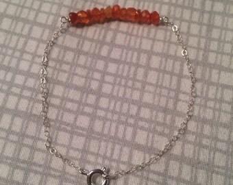 Carnelian + sterling silver bracelet