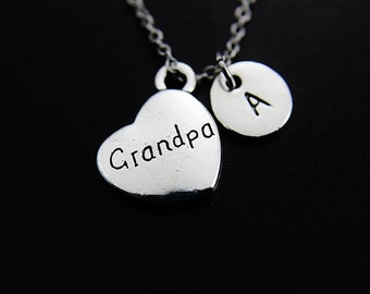 Silver Grandpa Charm Necklace Grandpa Charm Necklace Grandpa Pendant Heart Necklace Personalized Necklace Initial Necklace Customized