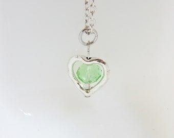 August birthstone necklace, heart necklace, heart charm, peridotl necklace, peridot birthstone, green swaroski charm, birthstone jewelry