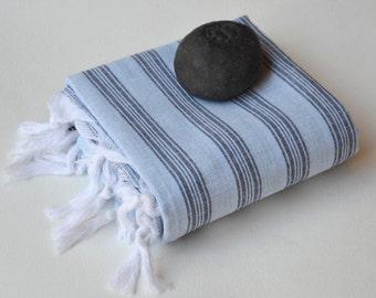 TURKISH TOWEL - PESHTEMAL /  Hammam Towel /   Thin and Light /  Fouta  Towel / Guest Towel / Spa Pool / Gift Idea / Travel / Blue - Black