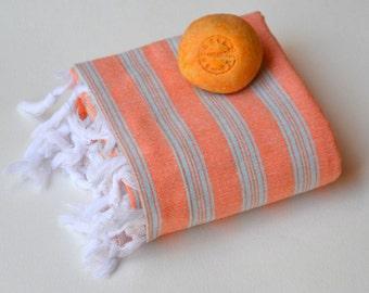 TURKISH TOWEL - PESHTEMAL  Hammam Towel Beach Towel  Thin and Light  Fouta  Towel  Guest Towel  Spa Pool  Gift Idea  Orange - Blue