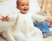 PDF Crochet Pattern Baby Layette pattern with shawl in 3ply wool, fits birth-12 months