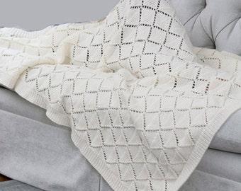 PDF Knitting Pattern Baby Aran easy knit shawl pattern