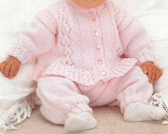 PDF Knitting Pattern Baby fancy cardigan in DK wool and fits birth to 3 years