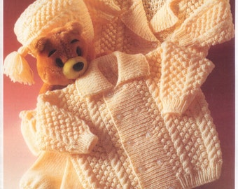 PDF Knitting Pattern Baby jackets, trousers and hat in DK- fits 16-22 chest