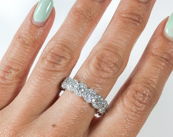 2.35CT 18K White Gold Diamond Eternity Ring Wedding Anniversary Band