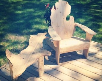 Michigan adirondack chair, Michigan chair, Michigan chairs, patio furniture, outdoor furniture, cedar chairs, FREE SHIPPING