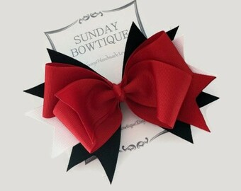 Ladybug Hair Bow, Stacked Boutique Bow, Boutique Bow, Red Black White Hair Bow, Halloween Hair Bow, Red Hair Bow