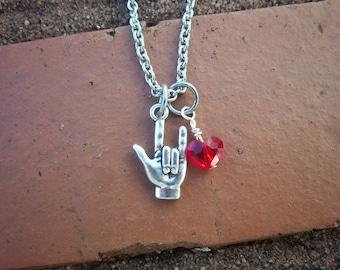 I Love You Necklace w/Swarovski Heart Crystal