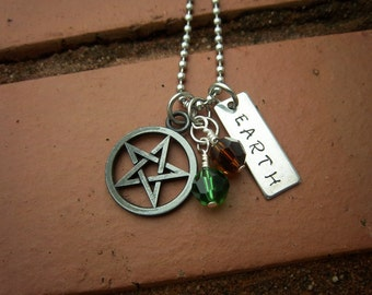 Pentagram & Earth Element Necklace w/Swarovski Crystals