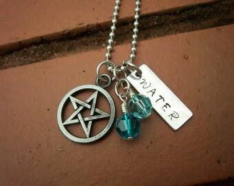 Pentagram & Water Element Necklace w/Swarovski Crystal