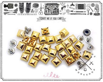 50PCS 10-12MM GOLD SQUARE DOME Pyramid Rivets Studs Nailhead.