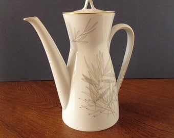 SALE! 1950s Rosenthal Germany coffee pot designed by Raymond Loewy, Form 2000, Gräser, grasses decor