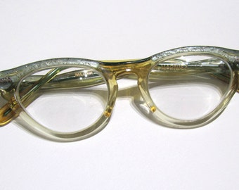 Vintage 1950s Glasses Children's Optical Aqua Clear