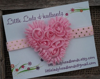 Pink Heart Baby Headband Pink heart bow - chiffon heart baby headband gold polka dot headband - toddler