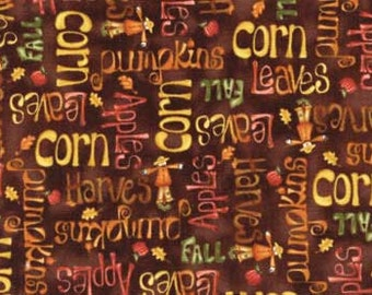 Happy Harvest, Fall Harvest Fabrics, Words Fabric, Fall Fabric with words, Harvest words fabric, by Red Rooster, 4277