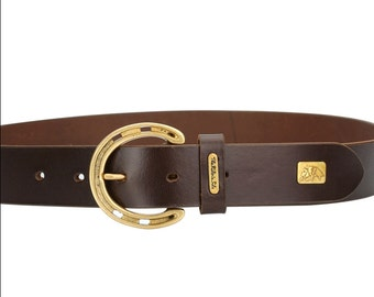 The Rider's Side : Equestrian Horseshoe Leather Fashion Belt