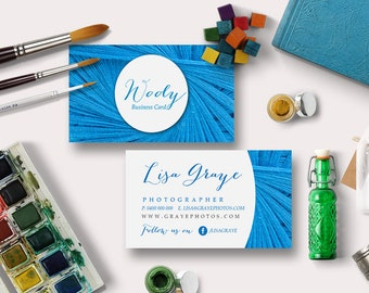 Wooly Business Card Digital Printable | Custom, DIY Calling Card, Printable, Personalize | EB158, Blue, Wool