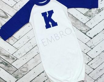 Kentucky raglan gown/ Baby KY gown/ Kentucky baby gown/ Raglan baby gown