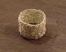 Wide Band Silver Knitted Ring, hand woven silver wire mesh ring, sterling Silver, gifts for her, Handmade