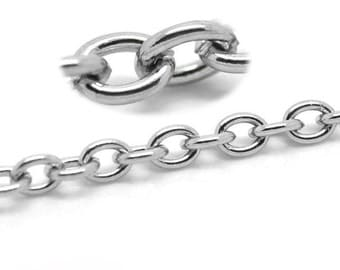 Stainless Steel Cable Chain | By the Foot | 4mm x 3mm Cable Chain