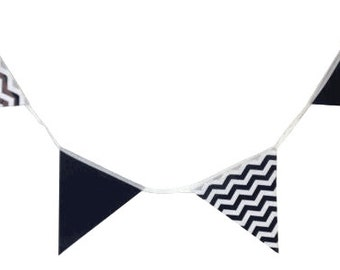 Black Solid/Chevron Pennant Bunting Banner