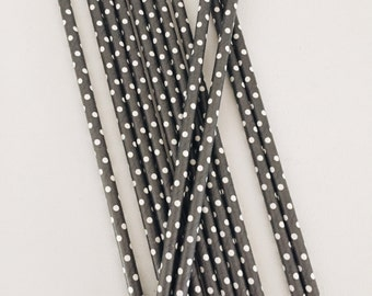 Black with White Polka Dots Paper Straws