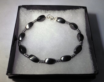 Dark Gray or Silver Magnetic Hematite Bracelet - Handmade - Sleek and Elegant
