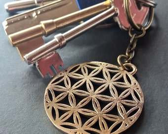 Bronze Flower of Life Keyring