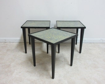 Nesting Tables Foil Under Glass Top Mid Century Decorator Tables