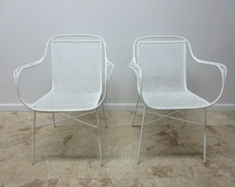 Pair Vintage Mid Century Home Crest Mesh Outdoor Patio Arm Chairs A